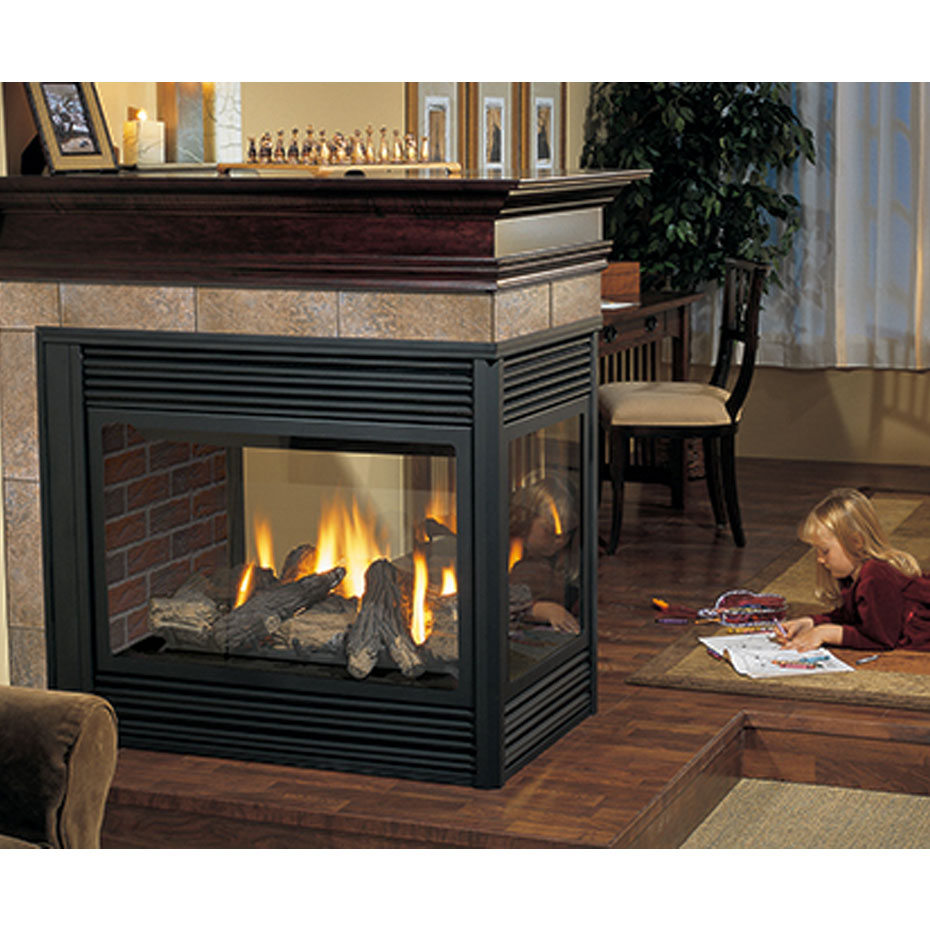 P131 three sided gas fireplace four seasons air control for 4 sided fireplace